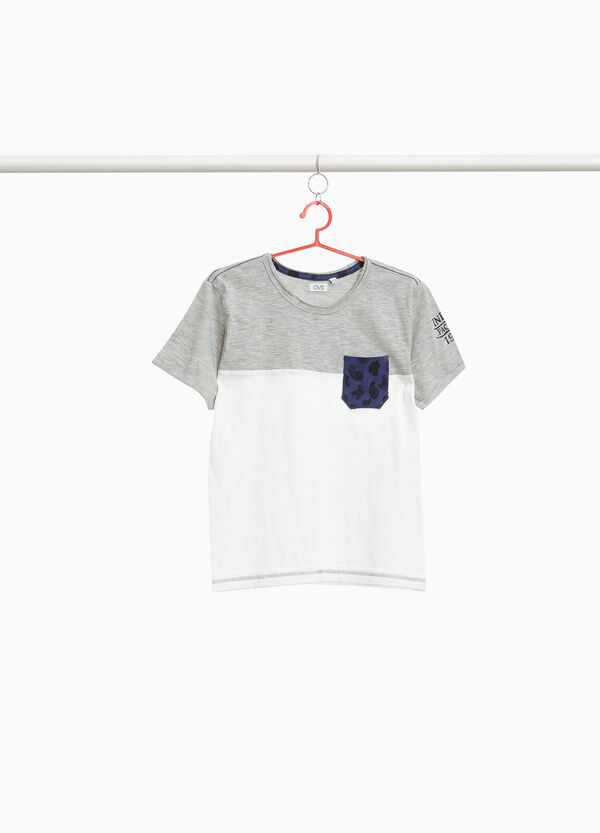Two-tone printed T-shirt in 100% cotton
