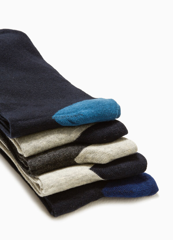 Five-pair pack solid colour stretch socks