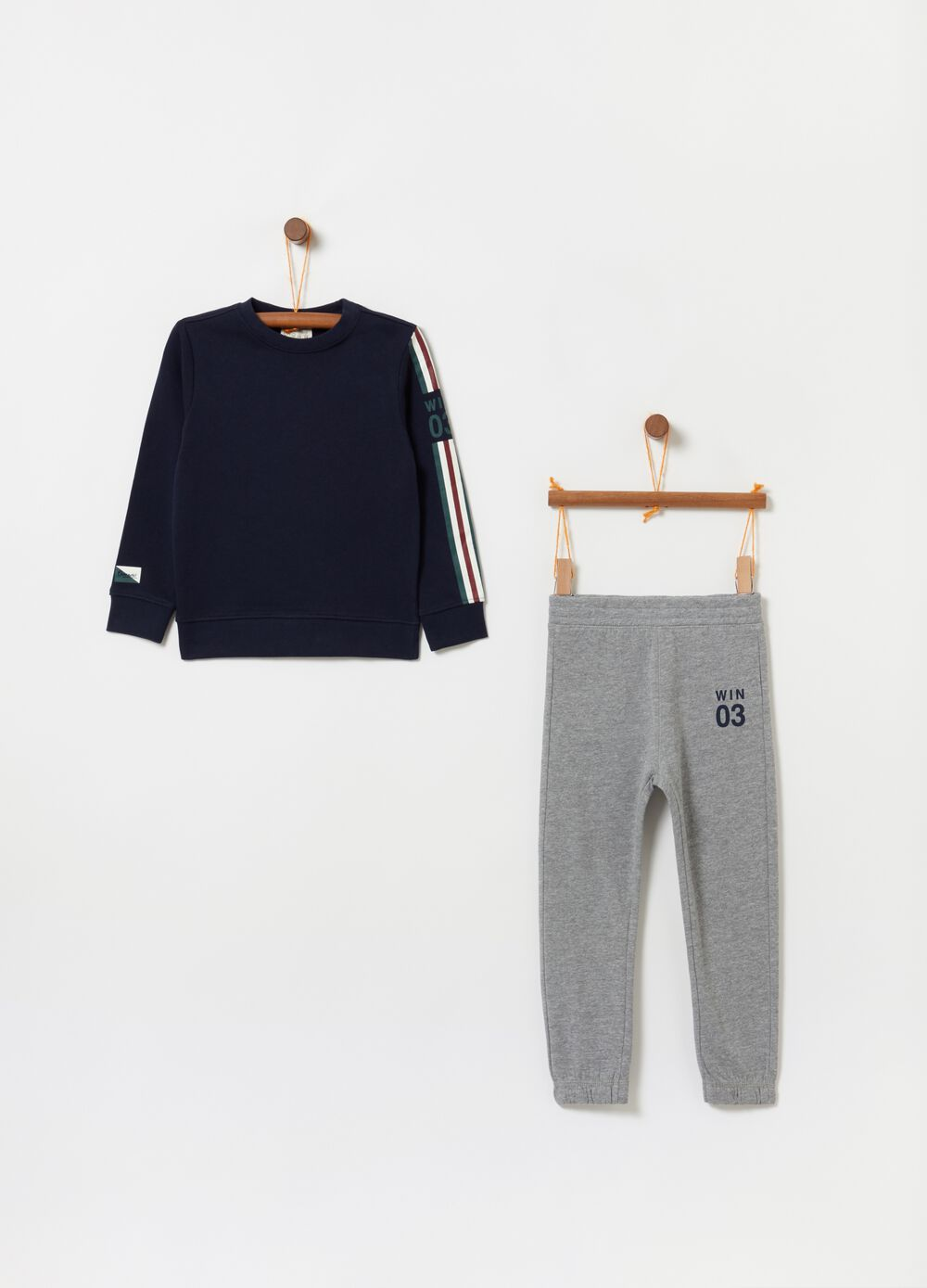 Cotton fleece jogging set with print