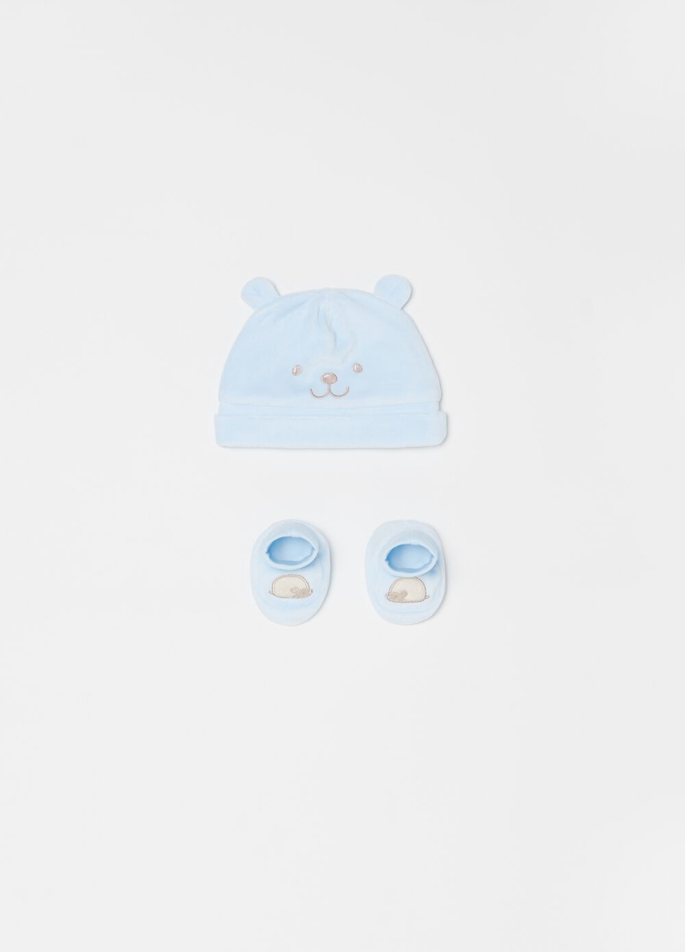 Beanie cap and shoes set with animal motif