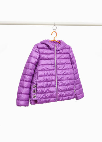Down jacket with hood and eyelets