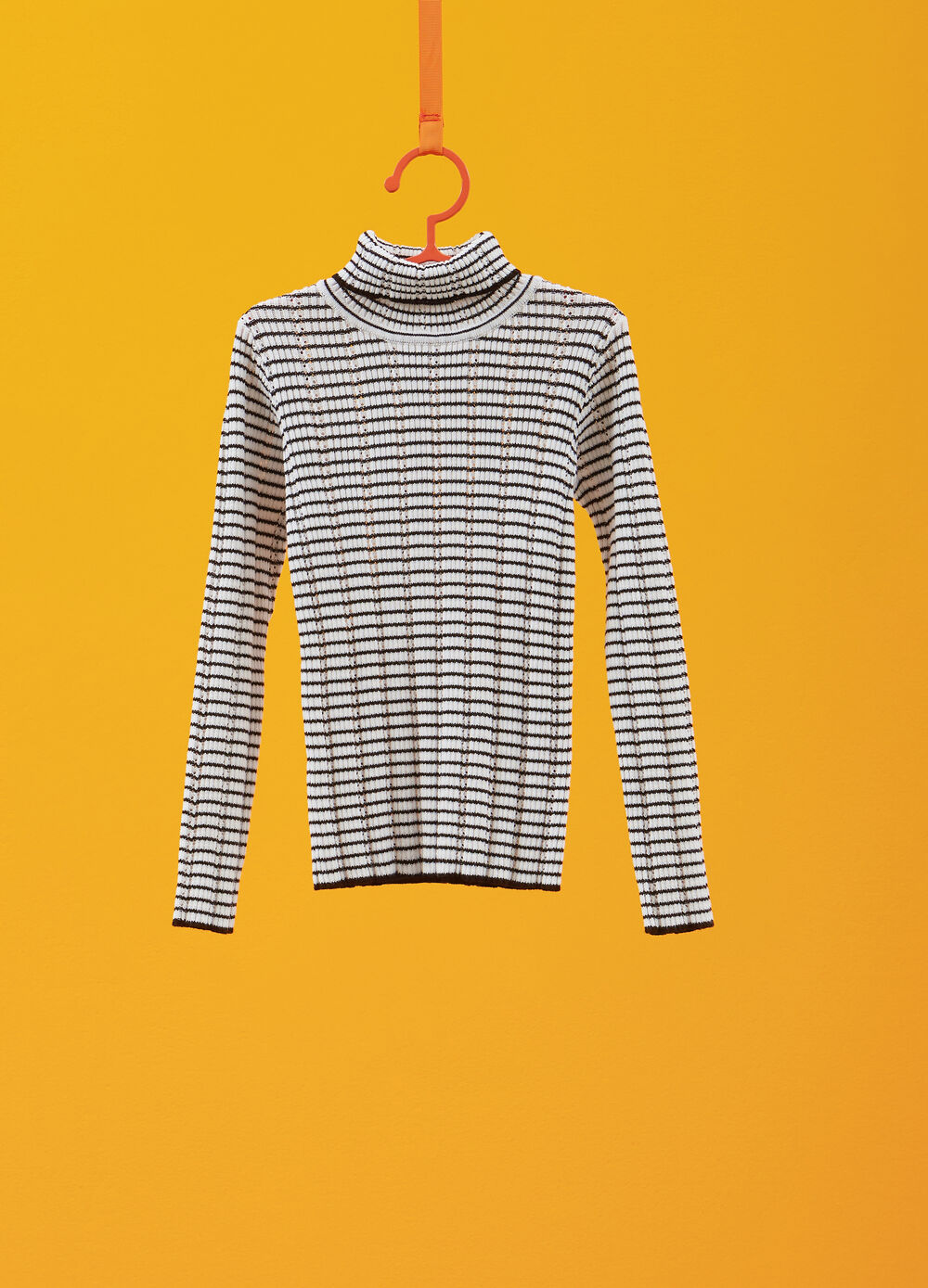 Cotton blend striped turtleneck jumper