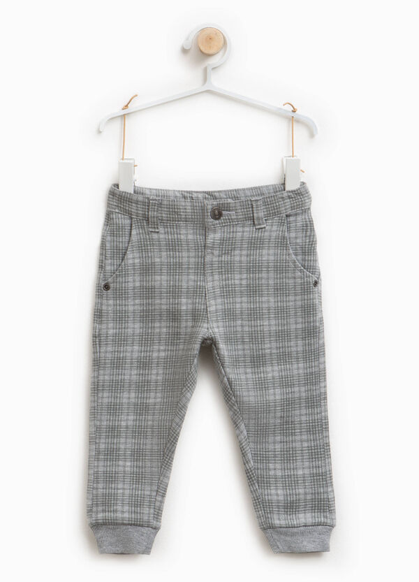 Checked stretch cotton trousers | OVS