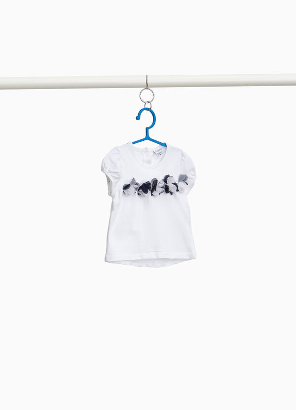 100% cotton T-shirt with tulle flowers