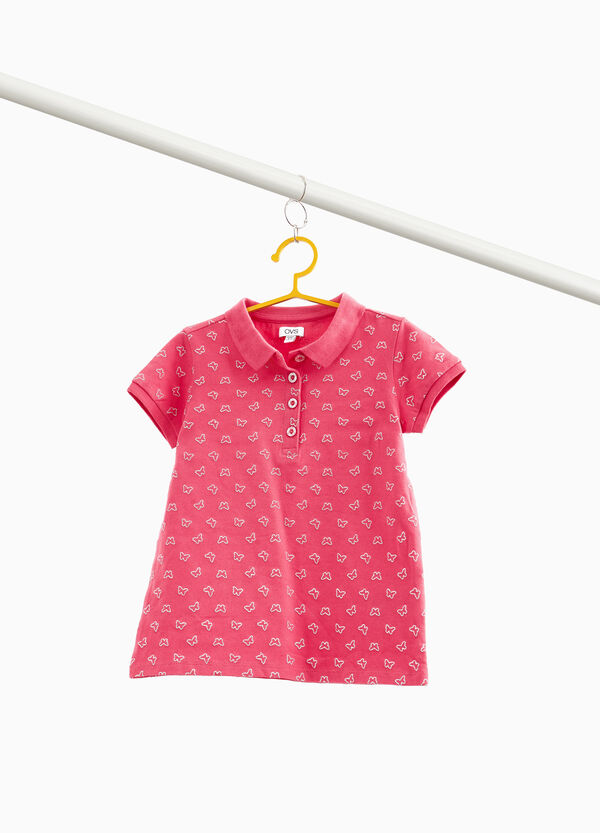 Stretch cotton polo shirt with glitter butterflies