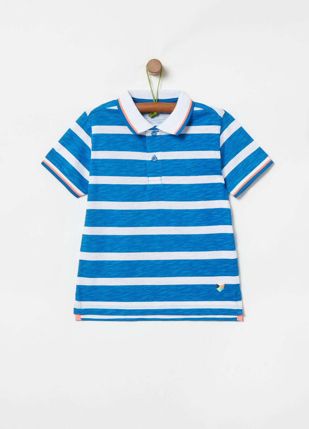 Striped polo shirt in 100% organic cotton