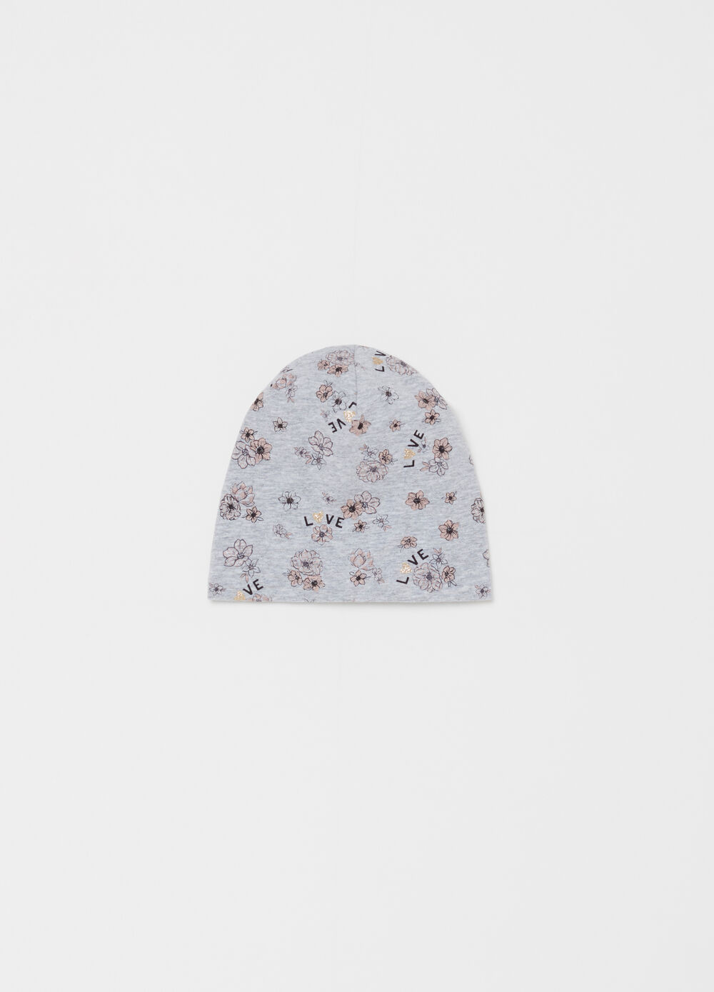 Cotton jersey beret with floral pattern