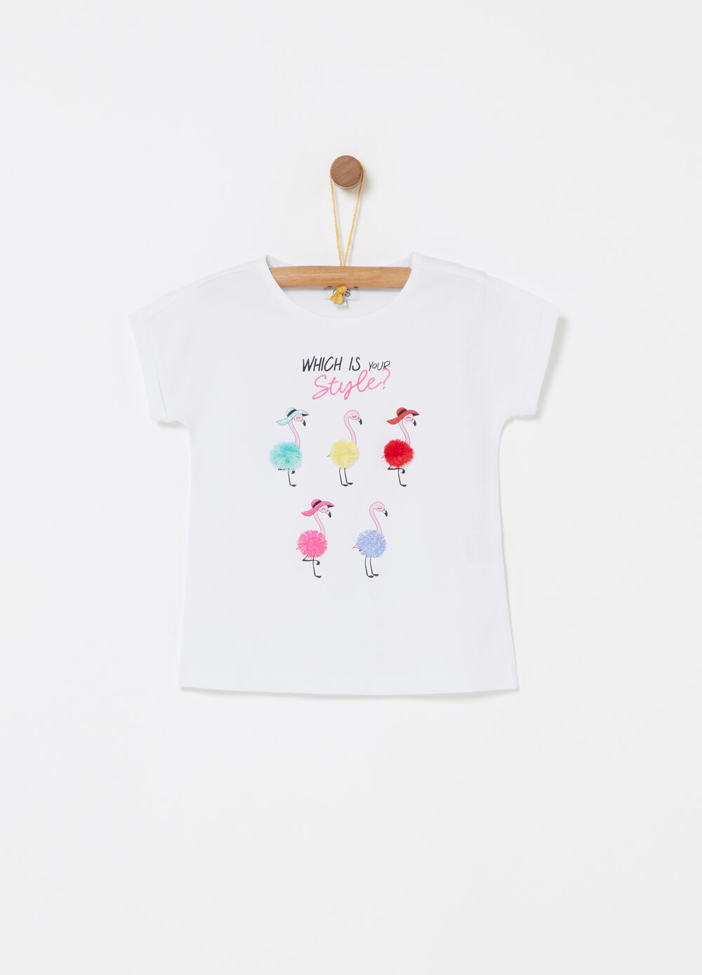 T-shirt with pompom and glitter print
