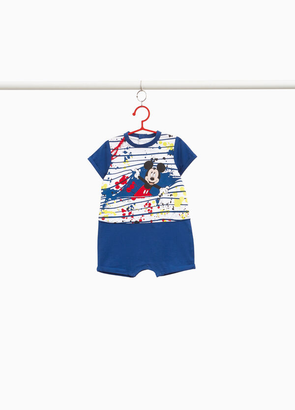 Cotton romper suit with Mickey Mouse print