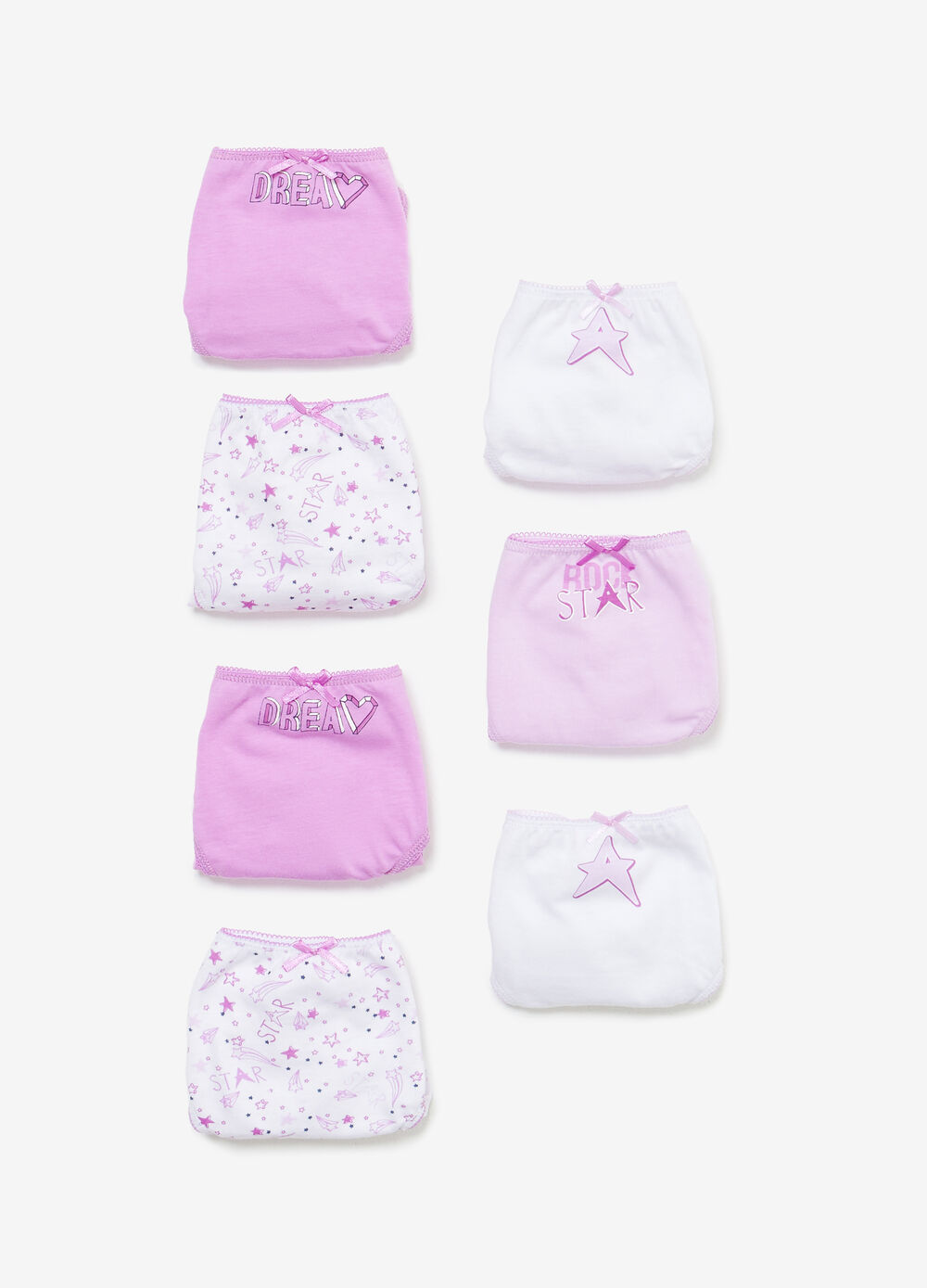 Seven-pack solid colour and stars cotton briefs