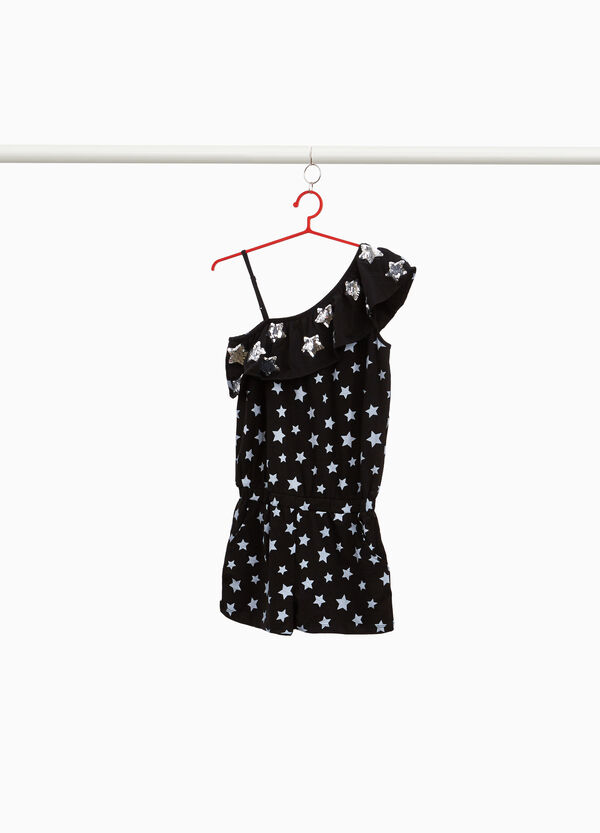 Stretch pinafore with star flounce