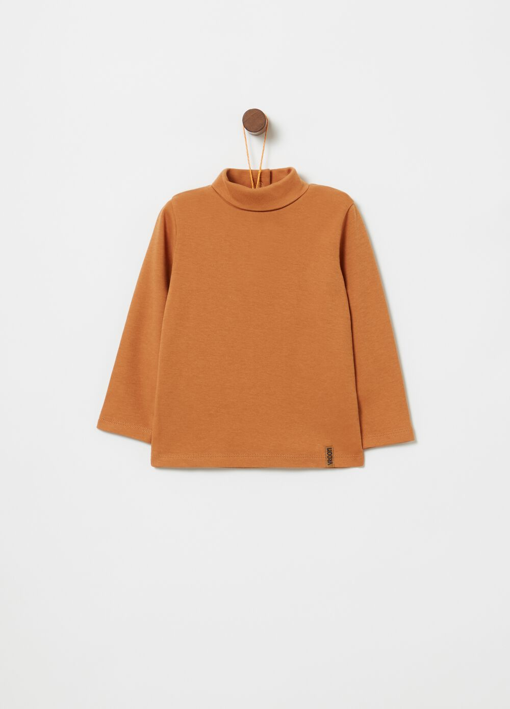 Turtleneck jumper in 100% warm cotton with high collar