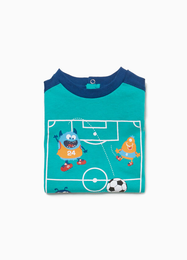 Cotton sleepsuit with football monsters