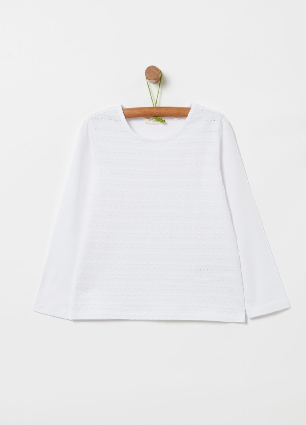 Stretch cotton T-shirt with embroidery