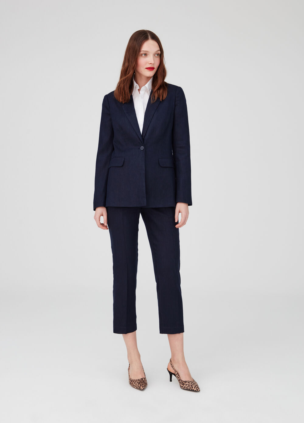 Linen and cotton blazer with flap pockets