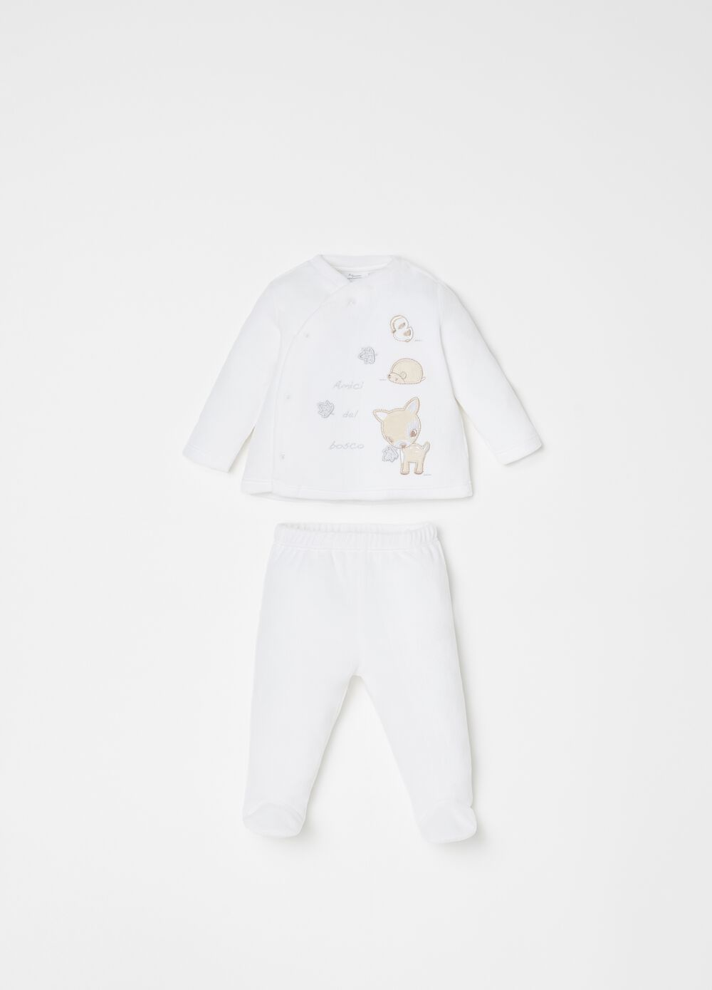 T-shirt and trousers set with animal embroidery