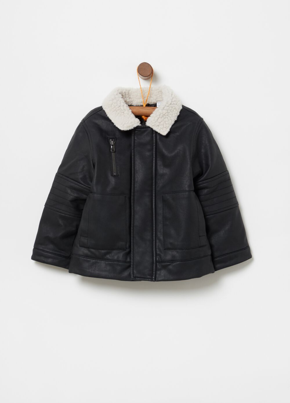 Leather-look jacket with collar