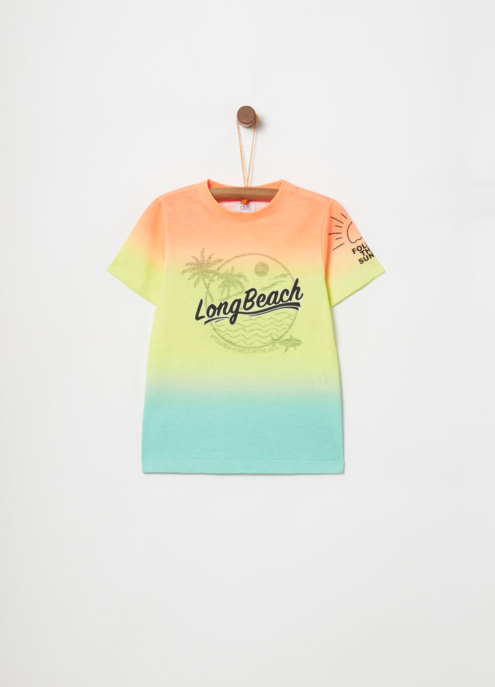 Biocotton T-shirt with multicoloured print