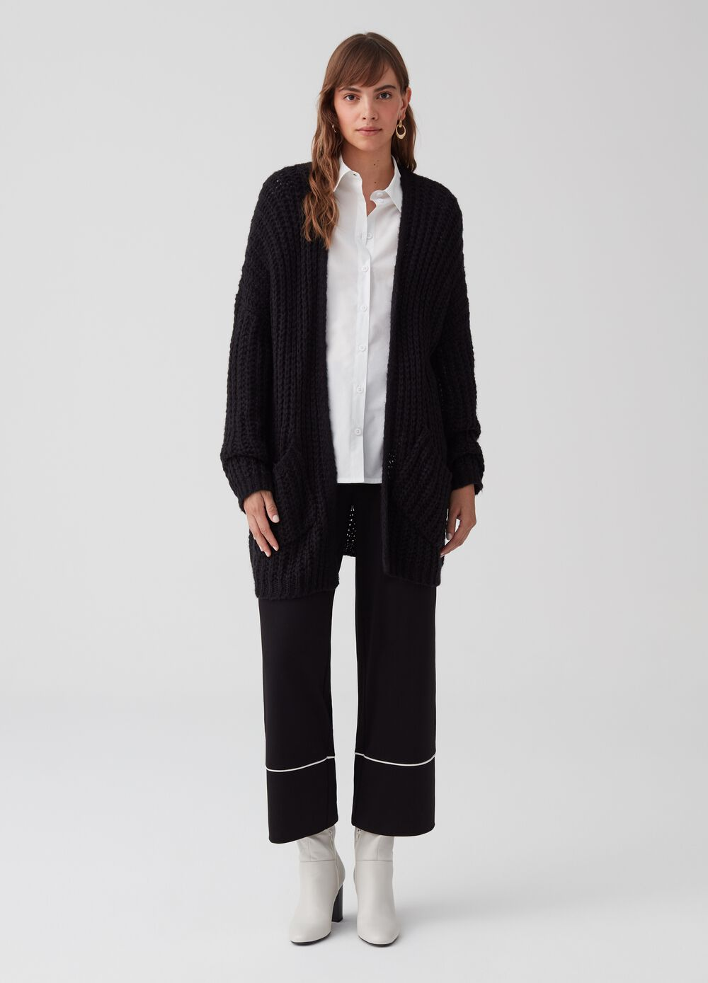 Crop palazzo trousers with striped insert
