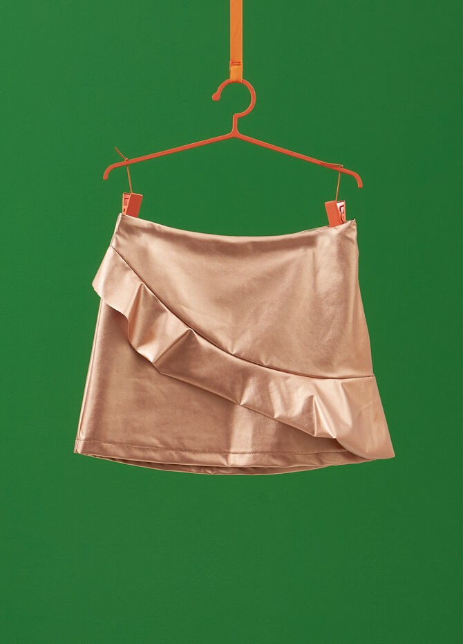 Solid colour stretch skirt with flounce