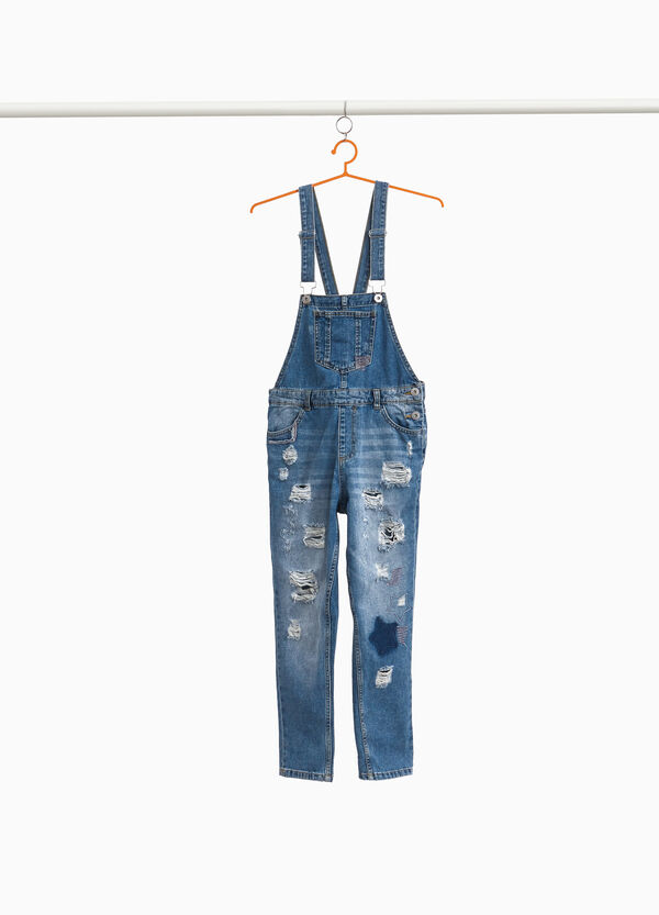 Used-effect denim dungarees with rips