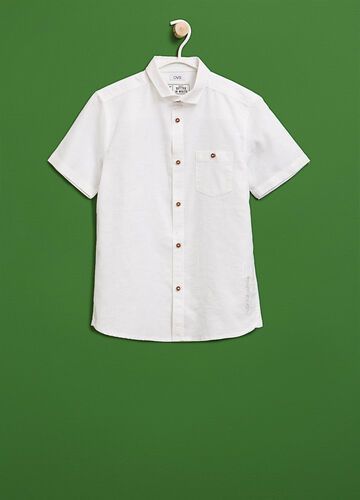 Embroidered linen and cotton shirt