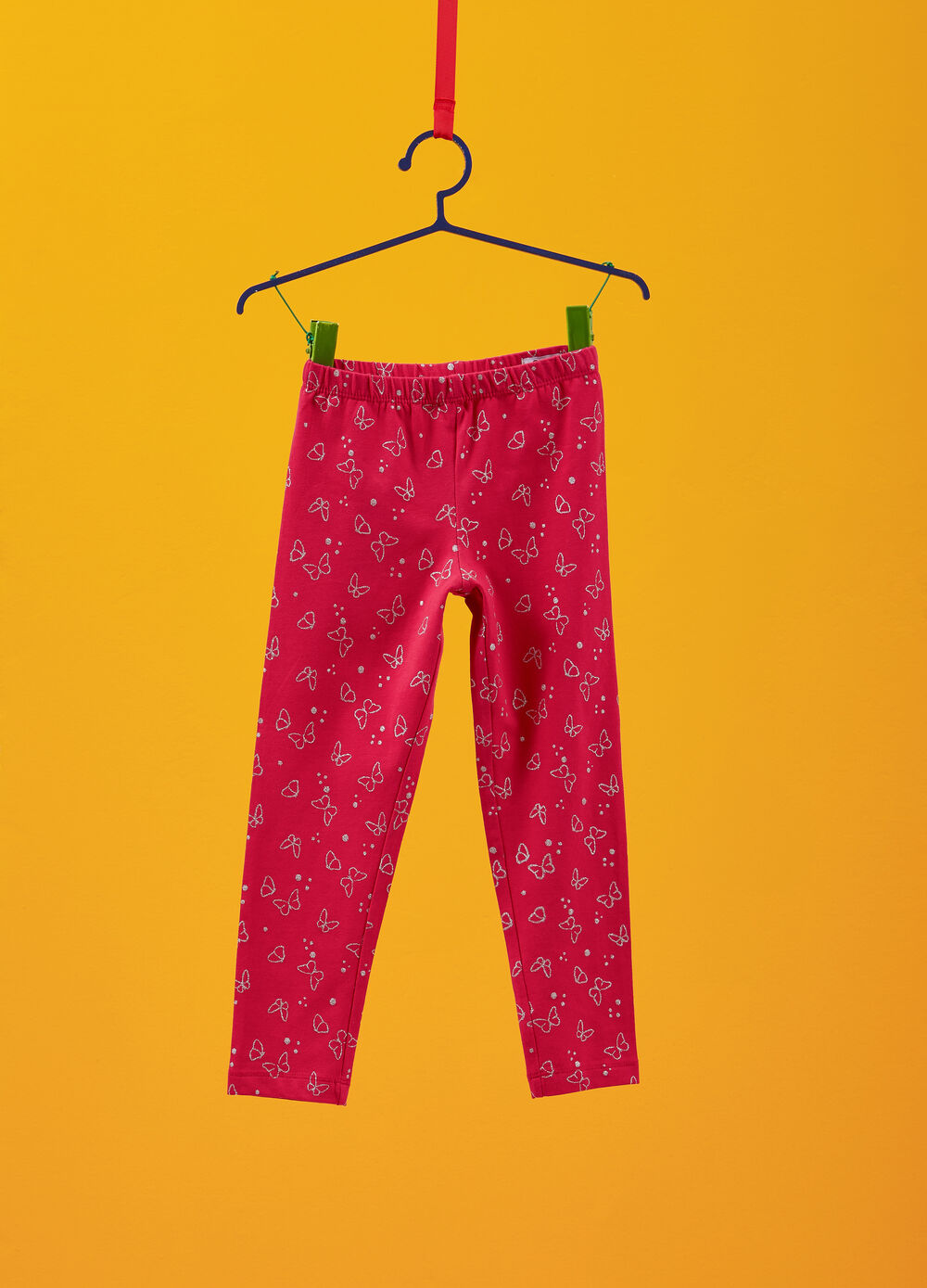 Stretch cotton leggings with butterfly print