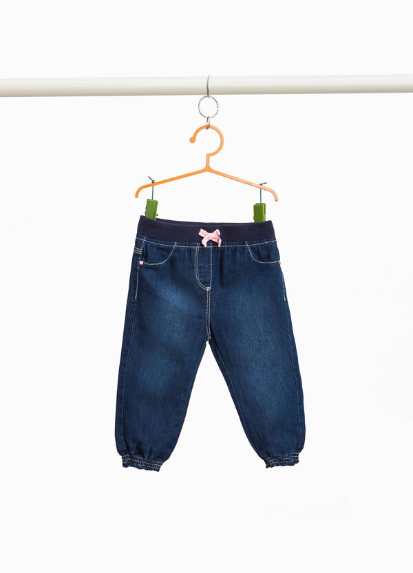 Washed-effect jeggings with bow