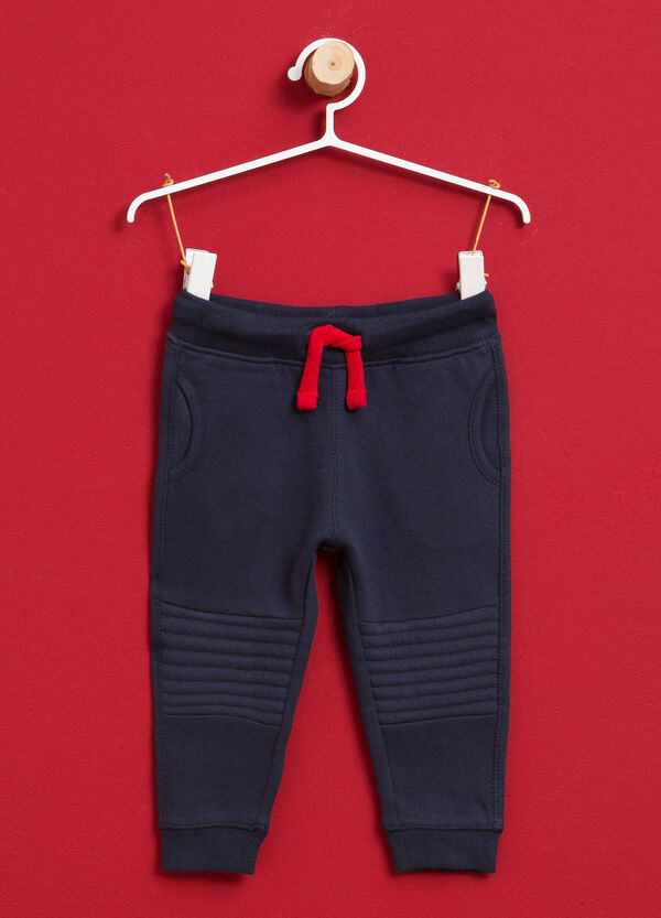 Cotton joggers with stitching