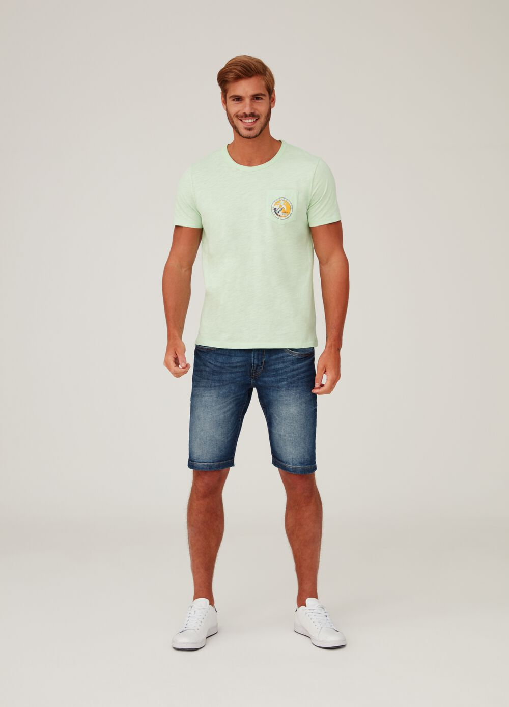 T-shirt in slub jersey with print and pocket