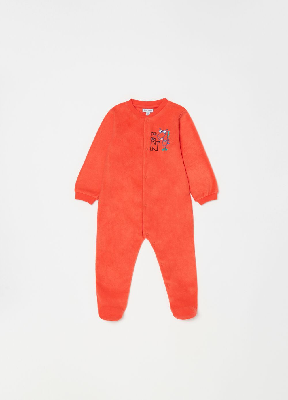 Onesie with feet and lettering embroidery