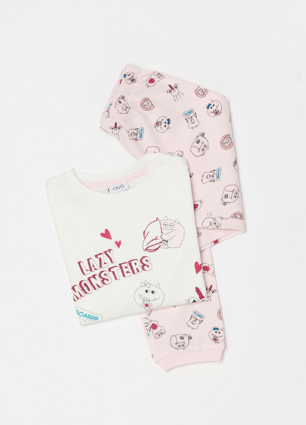 Long pyjamas in 100% organic cotton with monsters