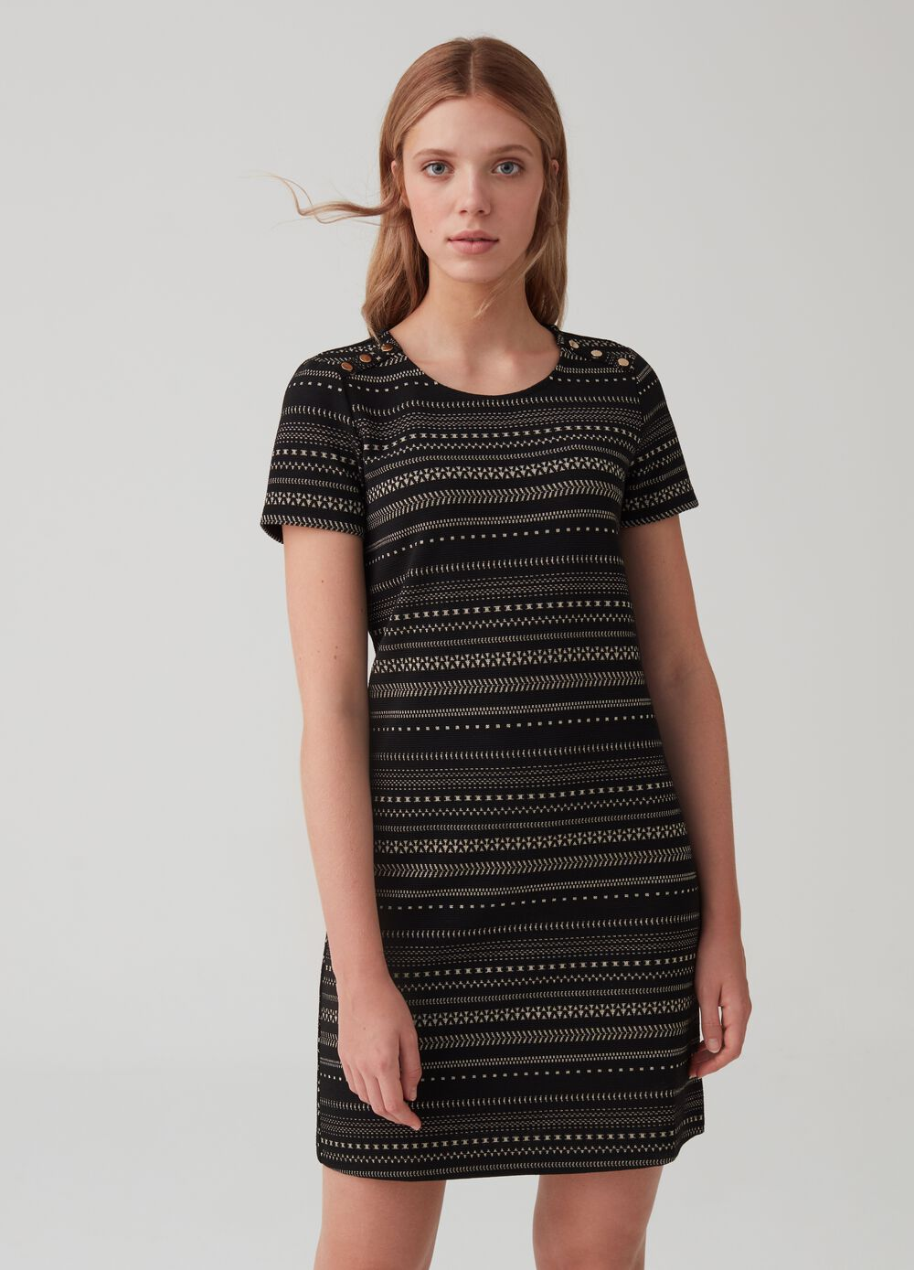 Knitted lurex fabric dress with pattern