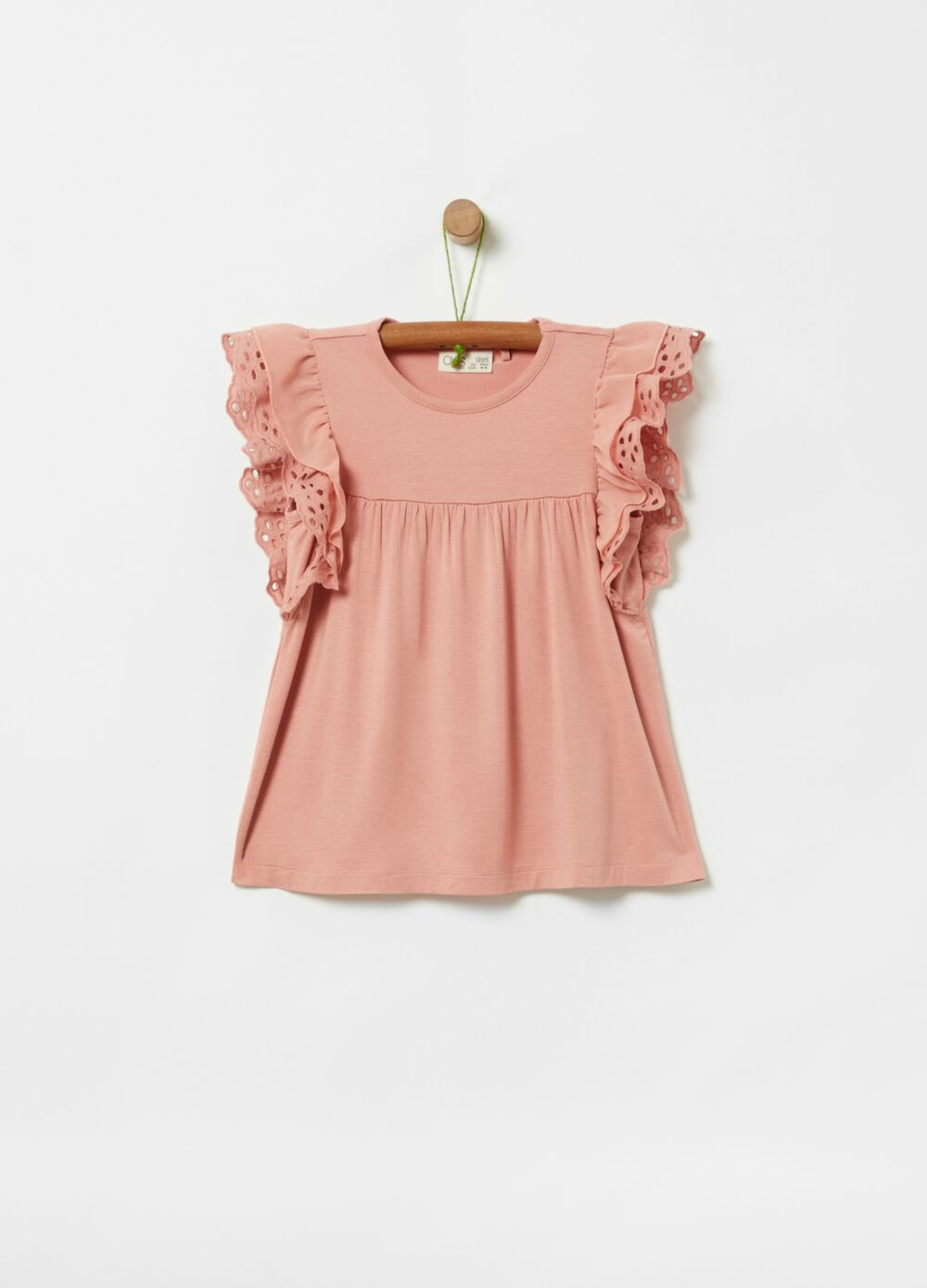 Stretch viscose T-shirt with frills