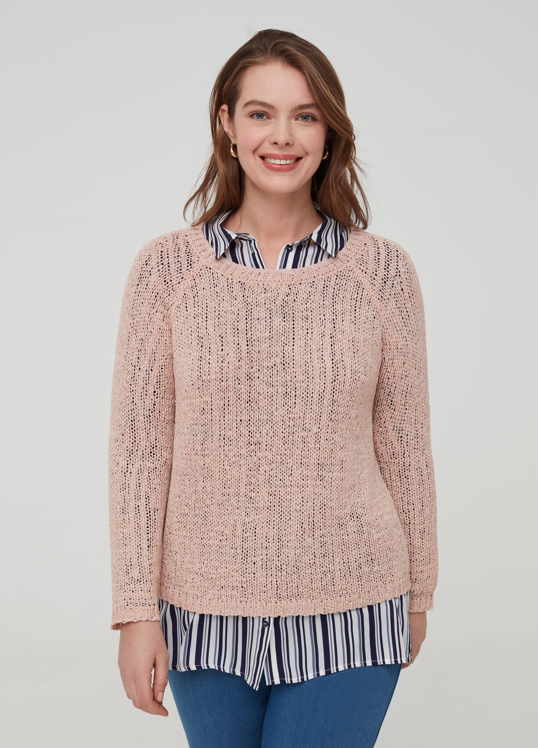 Curvy knitted pullover with raglan sleeves | OVS ES