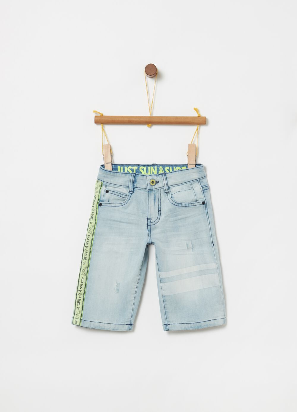 Shorts denim stretch fettuccia decorativa