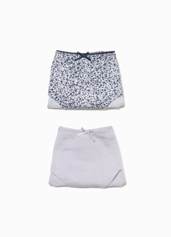 Two-pack solid colour and floral patterned briefs