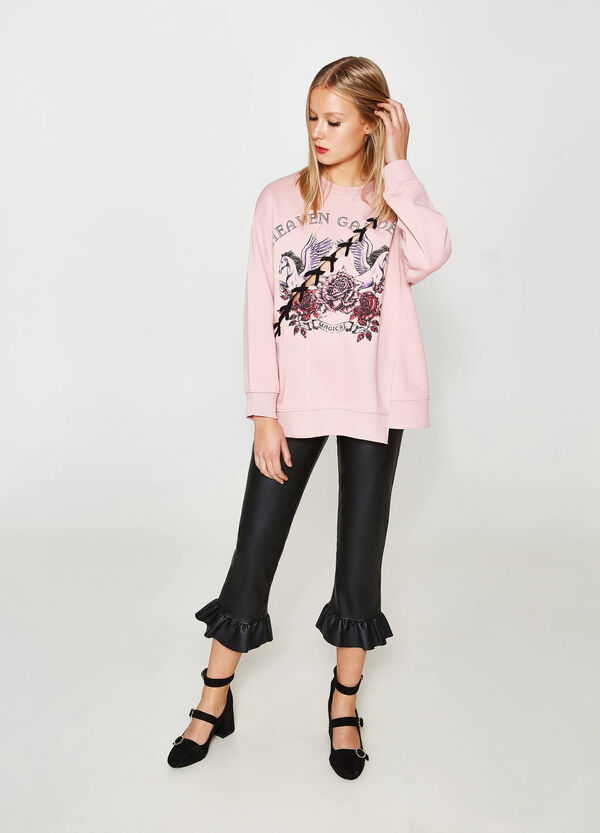 Cotton blend sweatshirt with print and opening