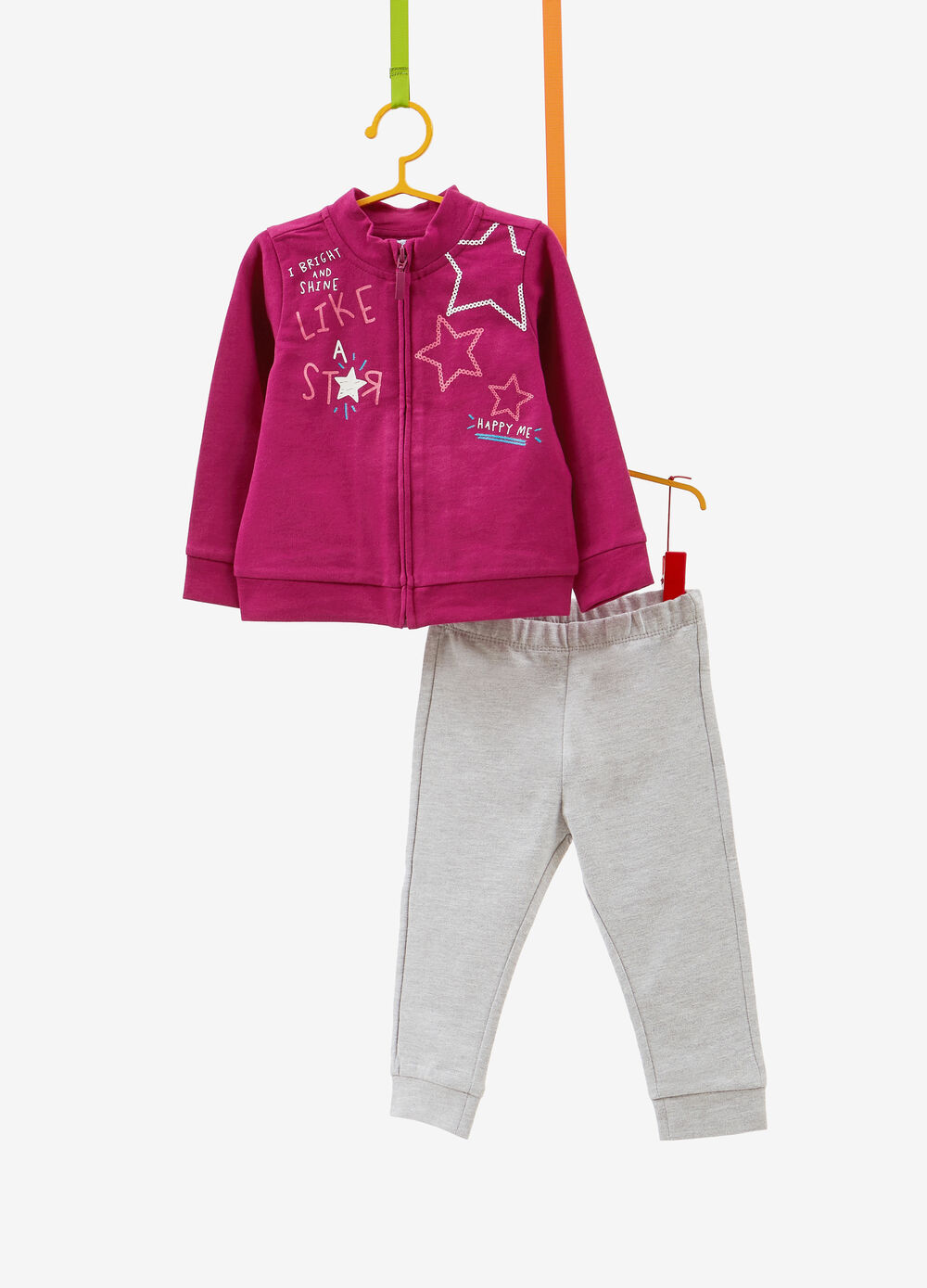 Stretch cotton tracksuit with glitter star print