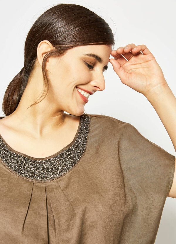 Curvy blouse in linen with beads   OVS