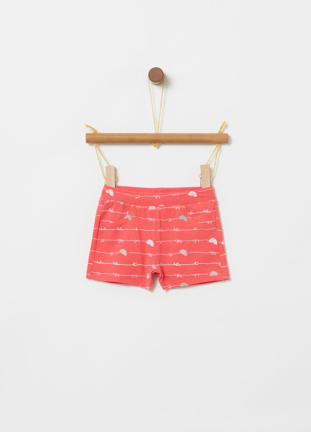 Stretch cotton shorts with watermelon print