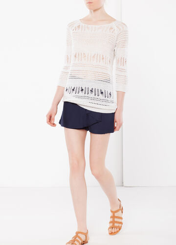 Openwork knit sweater