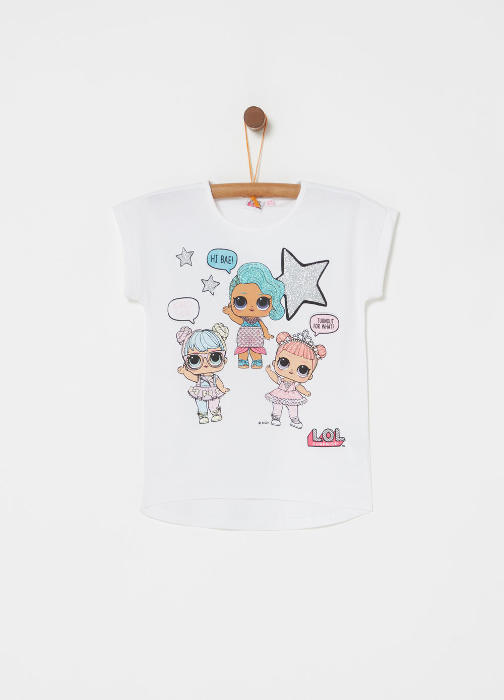 Crew neck T-shirt with LOL glitter print