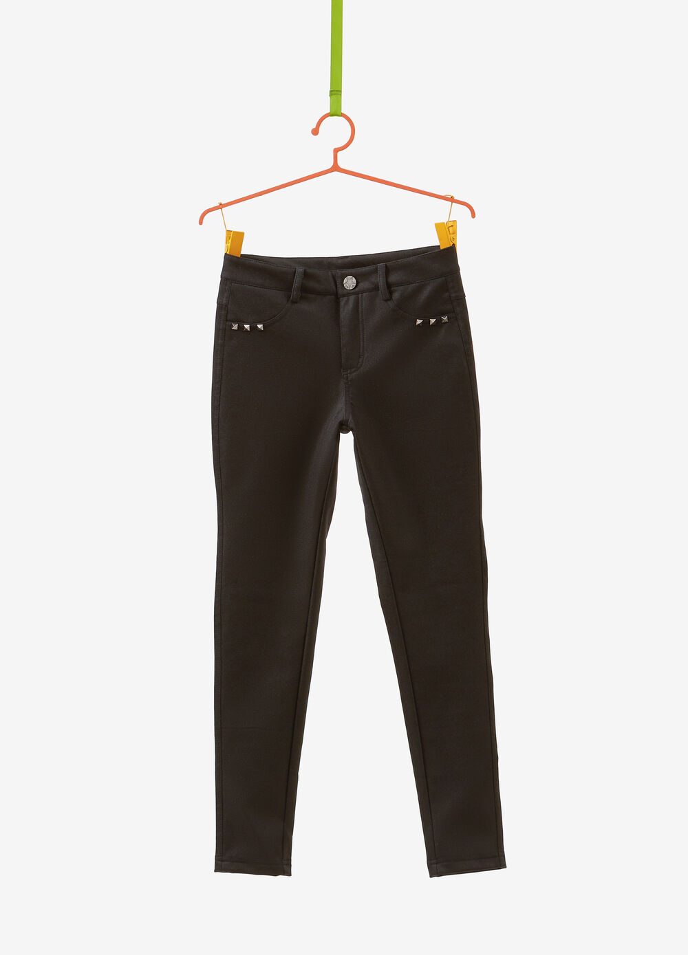 Solid colour stretch trousers with studs