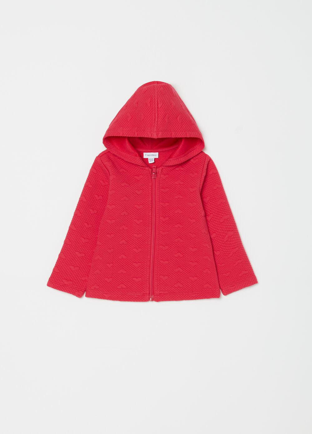 Stretch sweatshirt with hearts embroidery and hood