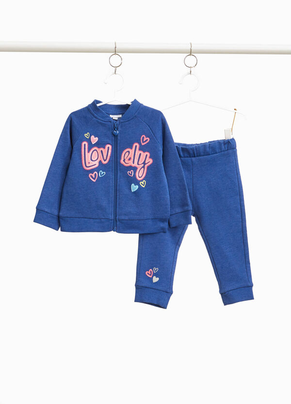Tracksuit in cotton with glitter lettering print