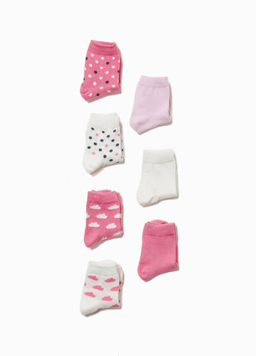 Two-pair pack socks with polka dots and clouds