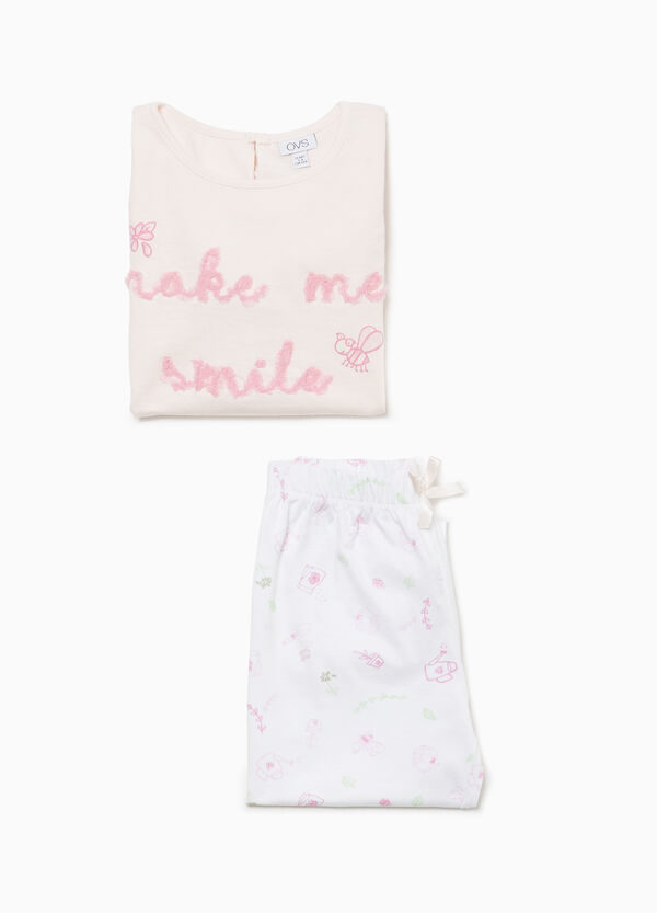 Cotton pyjamas with flocked lettering