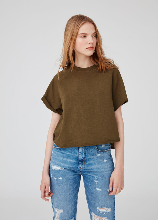 Earth Day biocotton T-shirt with raglan sleeves