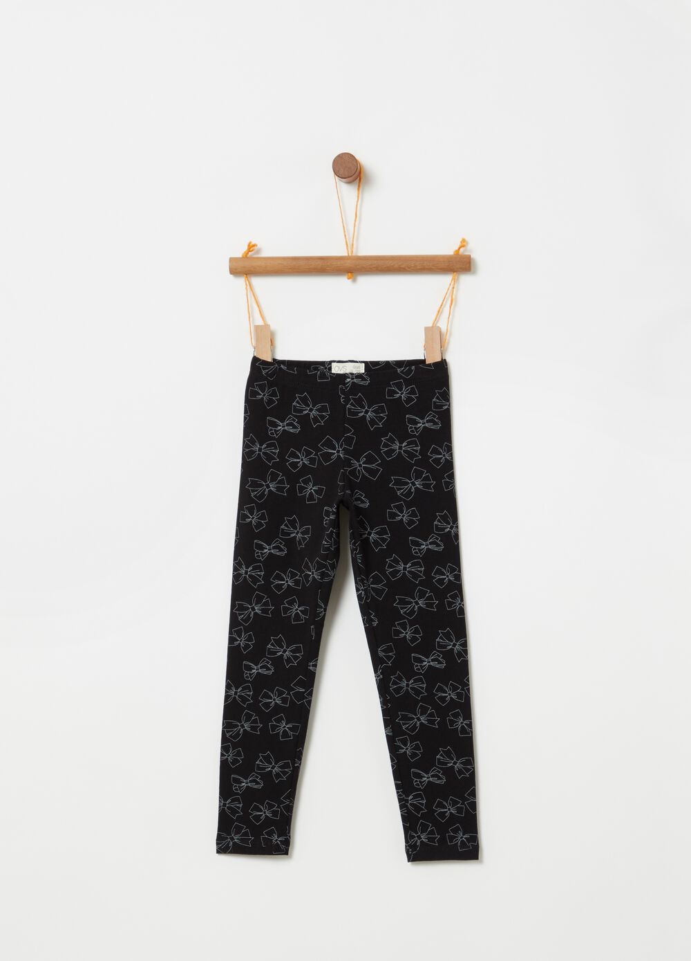 Leggings with all-over bow print